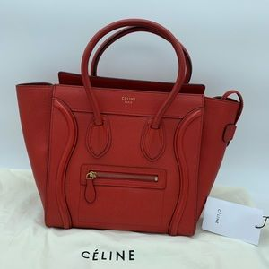 Authentic Celine micro luggage in Drummed Calfskin
